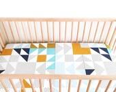 Crib Sheet Aqua Kaleidoscope. Fitted Crib Sheet. Baby Bedding. Crib Bedding. Minky Crib Sheet. Crib Sheets. Triangle Crib Sheet.