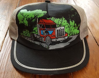SEMI TRUCK HAT // 80's Big Red Trucker Hat Baseball One Size Fits All Vintage Driving Travel Truck Stop Souvenir