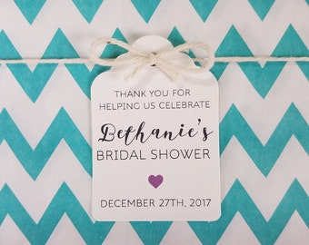 Wedding Gift Tags - Thank you for celebrating bridal shower - Customizable Personalized (WT1703)
