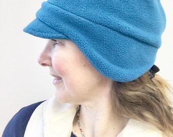 Winter Fleece Hat, Women's Fleece Beanie Hat, Women's Fleece Newsboy Hat, Fleece Earflap Beanie Hat, Women's Beanie, Hat for Woman, Medium