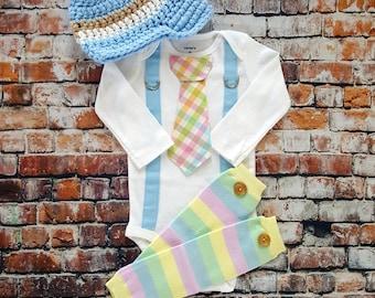 Easter Baby Boy Tie Bodysuit w Suspenders, Visor Crocheted Hat, Button Leg Warmers. Pastel Plaid.  Baby Shower Gift, Photo Prop, Easter Boy