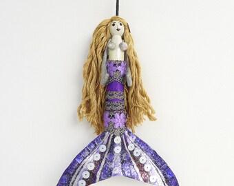 Mermaid Ornament, unique decoration, handmade mermaid peg doll, gift for her