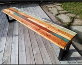 Custom Reclaimed Salvaged Wood Bench with Paint and Patchwork Stains