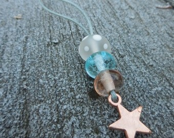 Necklace with frosted glass beads - copper base metal star charm - lampwork - 70 cm