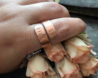 Custom Copper Wrap Ring - Hand Stamped - Personalized - Rose Gold Color - Be Kind - Mantra Jewelry - Adjustable - Made in the USA