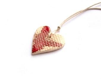 Ceramic heart necklace, Ceramic pendant  , Heart Pendant , Handmade ceramic necklace, Valentines day