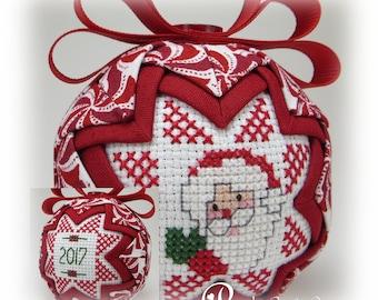 Santa Ornament - Quilted Ornament - Santa - Dated Ornament