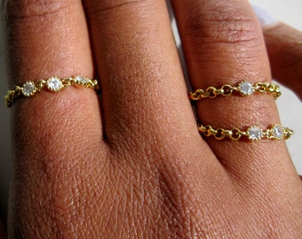 Diamond Gold Ring, promise ring, stackable ring, cz diamond chain ring, dainty gold ring, bridal ring, thin gold ring, girlfriend gift