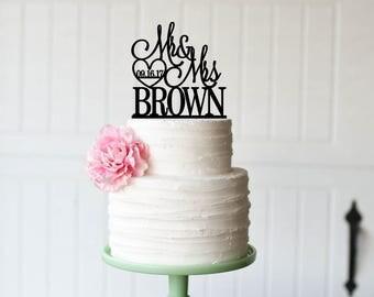 Mr & Mrs Wedding Cake Topper - Cake Topper - Cake Topper with Last Name
