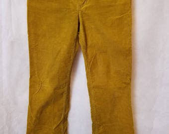 S Small Vintage 90s J. Crew Low Rise Mustard Yellow Corduroy Punk Indie Grunge Alternative Preppy Trousers Pants 4S Favorite Fit