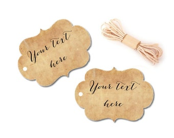 Custom Favor Tags, Thank You Tags, Wedding, Bridal or Baby Shower, Baptism, Gift Tags, Personalized, Vintage, Rustic Hang Tags, Set of 10