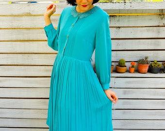 Vintage Dress, 1980s Dress, Vintage Japanese Dress, Vintage Womens Dress, Secretary Dress, Retro Clothing, Lace Dress, Retro Clothing