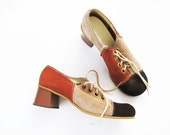 60s Mod Shoes / 1960s Lace Up Oxford Heels / Suede / Colorblock / Block Heel / 8.5