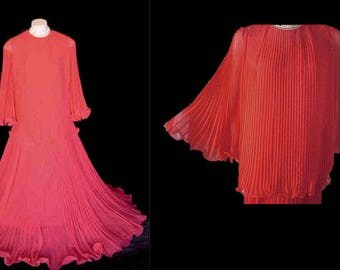 Vintage JR Boutique Grand Sweep Crystal Pleated Evening Outfit vintage Dress
