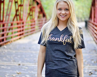THANKFUL Shirt, Women's Thankful V-Neck Tee