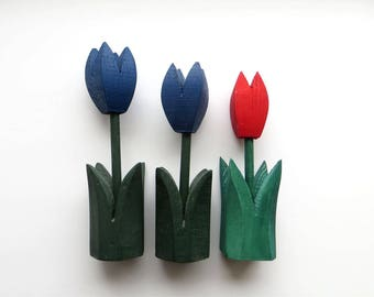 Vintage Handmade Wooden Tulips Old Fashioned Home Decor 90s Blue Tulips Hot Red Tulips Set of 3