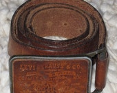 You're So Leather You Got a Leather BUCKLE! - Vintage 1970s Leather Levi's Belt with Leather Buckle - Western Cowboy - Size 34 -Gram Parsons
