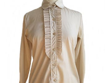Vintage 60s accordion pleated cream women's tuxedo shirt/ Cos Cob/ ruffled top/ champagne office shirt