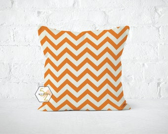 Orange Chevron Pillow Cover - Zig Zag Mandarin - Lumbar 12 14 16 18 20 22 24 26 Euro - Hidden Zipper Closure