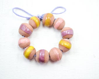 10 Handcrafted Ceramic Beads - Pastel - Unique Assortment - Earthy - Striped- Handmade - Round- Pottery beads - Brownstone - Bead Set Y464