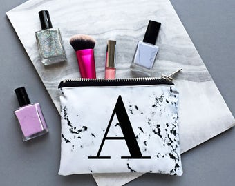 Marble alphabet mini make up zipper pouch - marble print, marbled fashion, minimal style, marble style, monogram marble, personalised marble