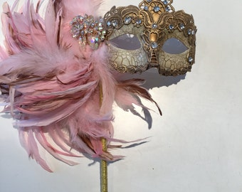Mask on a Stick- Pink Mask- Mardi Gras Mask- Carnival mask- Feather Mask- Masquerade Mask- Coque feathers-Venetian mask- Wedding Mask- Women