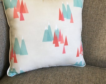 """Mountains and Peaks Pillow in Aqua, Burnt Orange and Beige - """"Modern Mountains Pillow"""""""