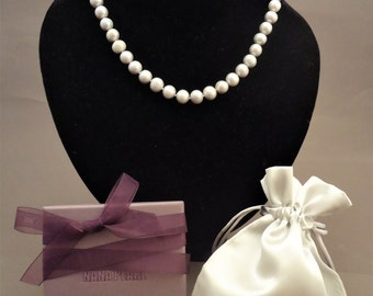 Classic grey freshwater pearl necklace, pearl necklace, wedding pearls, wedding jewelry