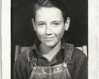 Old Photo Boy wearing Overalls School Photo 1930s Photograph Snapshot vintage