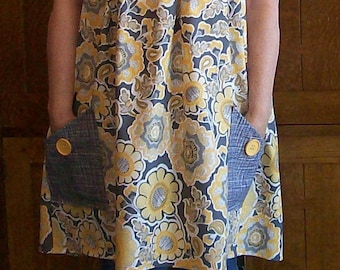 Yellow and Gray Floral Smock Apron - No Tie Smock - Yellow and Gray Apron - Fits Sizes L to 2XL