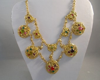 SALE 2 Row Gold Tone Chain Necklace with Gold Tone Pendants That Have Multi Color Crystal Beads
