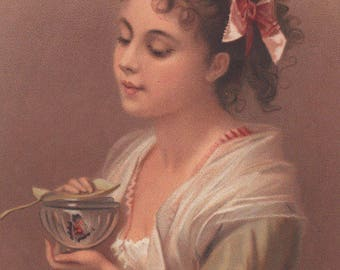 Young Girl With A Butterfly In A Bowl Victorian Album Card