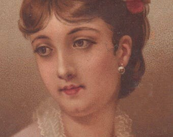 Lady With Brown Hair And Roses Victorian Album Card