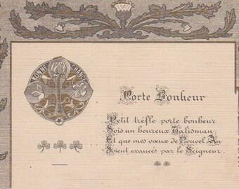 Fine Art Nouveau Flower Greeting With Gold Accents Original Antique Postcard