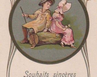 Art Nouveau Boy And Girl Sitting Together On A Log Original Antique Art Postcard