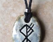 Men's Wolf Rune Necklace Norse Runestone Ceramic Pendant Viking Amulet Futhark Wunjo Othila Laguz Fehu