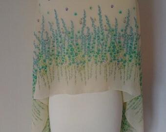 A light Floral print chiffon scarf.