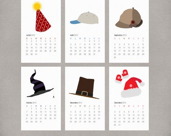 2017 French Wall Calendar Printable PDF DIY - Illustrated Holiday and Seasonal Hats - Gift for Christmas or Holidays