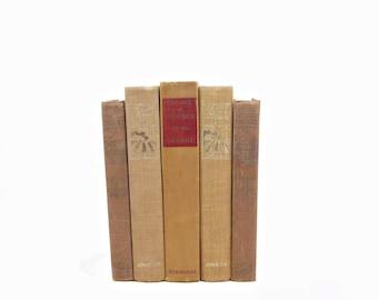 Brown Rustic Decorative Books, Bronze Antique Book Decor, Wedding Decor, Shabby Chic Old Books, Book Collection, Book Set