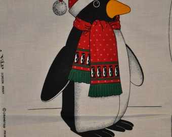"Christmas Penguin Panel, ready to cut and sew, brightly colored, 17"" tall"