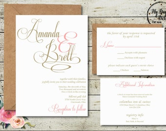 BLUSH AND CHAMPAGNE Wedding Invitation
