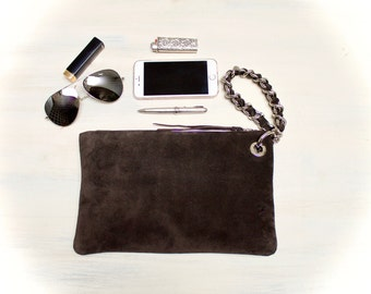 leather clutch bag, brown suede clutch, wristlets clutch, purse with wristlet chain