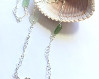 Mermaid sea glass necklace - sterling silver memaid and sea glass necklace