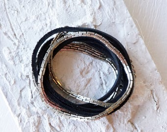 Silver Snake Chain And Black Leather Wrap Bracelet/Versatile Leather Jewelry/Leather Choker/Silver Chain Choker/Boho Glam Leather Wrap Glam