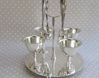 Vintage Set of Four EPNS Egg Cups with Spoons on Carry Stand