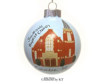 Special Place Ornament MADE TO ORDER Christmas Glass Bauble Honeymoon Wedding Church School University Hand Painted