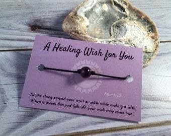 AMETHYST WISH Bracelet - Healing Wish Bracelet - Wish Anklet - Amethyst Bead Bracelet - Amethyst Bracelet - Friendship Bracelet