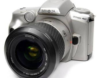 Vintage Minolta Dynax 40 SLR 35mm Film Camera with 28-100mm Zoom Lens