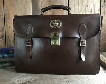 English Brown Leather Belted Briefcase, Brass, Attache Portfolio Case, Cheney England Brass Lock