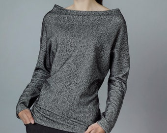"Heather grey knit pullover ""wasai"","